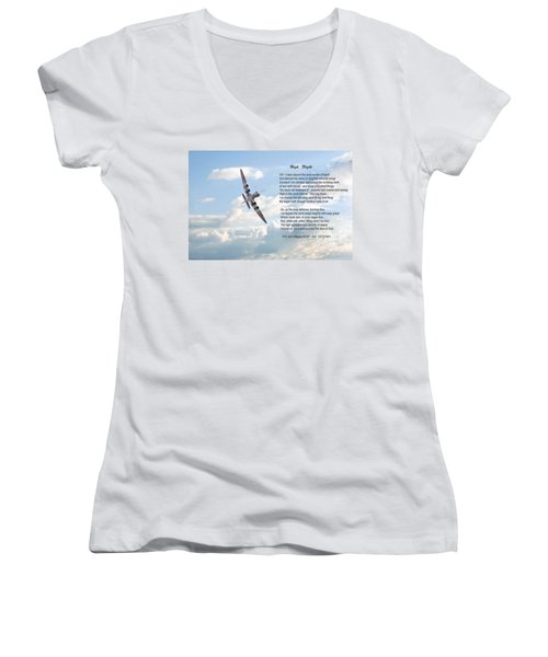 High Flight Women's V-Neck T-Shirt (Junior Cut) by Pat Speirs