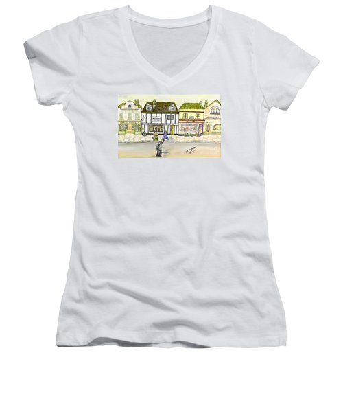 Women's V-Neck T-Shirt (Junior Cut) featuring the painting High Street by Loredana Messina