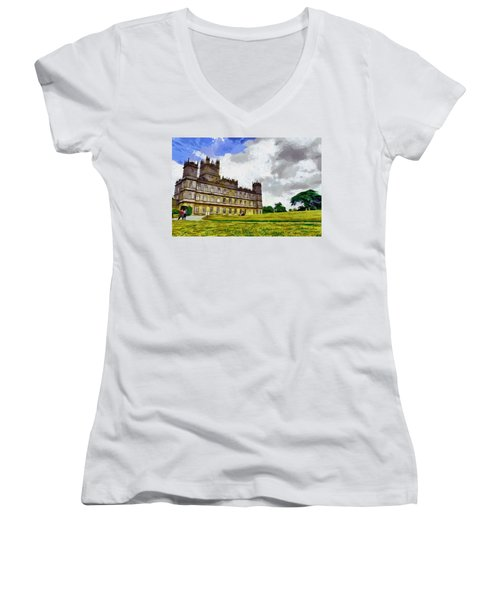 Highclere Castle Women's V-Neck T-Shirt (Junior Cut) by Georgi Dimitrov
