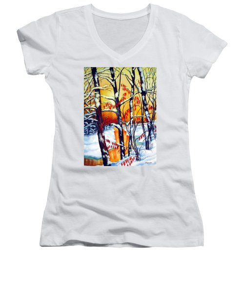 Women's V-Neck T-Shirt (Junior Cut) featuring the painting Highland Creek Sunset 2  by Inese Poga