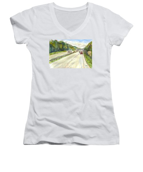 Highway 95 Women's V-Neck T-Shirt (Junior Cut)