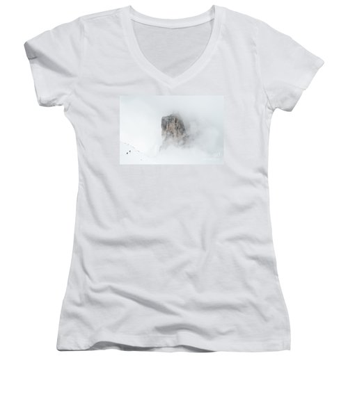 Hiking The Tre Cime In Winter Women's V-Neck T-Shirt (Junior Cut) by IPics Photography