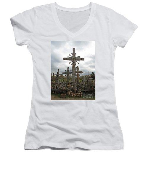 Hill Of Crosses 06. Lithuania.  Women's V-Neck T-Shirt (Junior Cut) by Ausra Huntington nee Paulauskaite