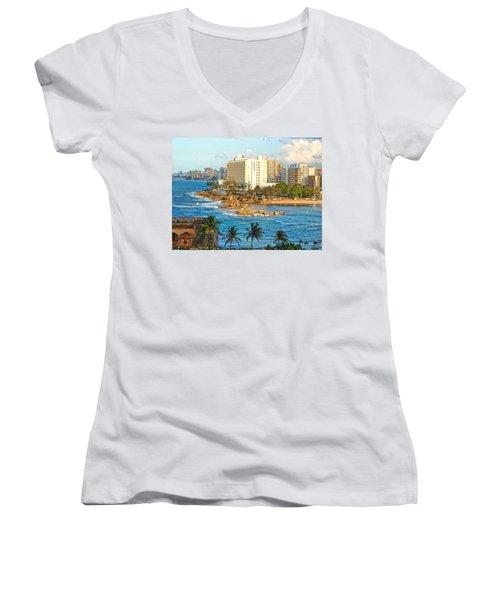 Women's V-Neck T-Shirt (Junior Cut) featuring the photograph Hilton Conrad by Daniel Sheldon