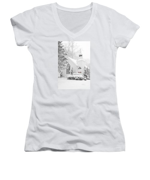 Women's V-Neck T-Shirt (Junior Cut) featuring the photograph White Christmas In Oella Maryland Usa by Vizual Studio