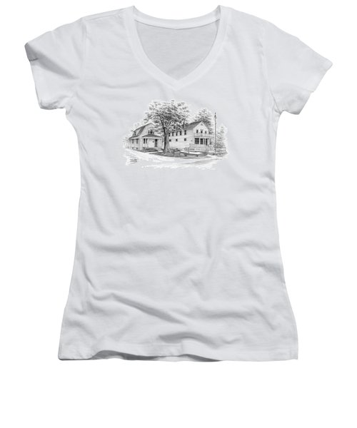 Historic Jaite Mill - Cuyahoga Valley National Park Women's V-Neck T-Shirt (Junior Cut) by Kelli Swan