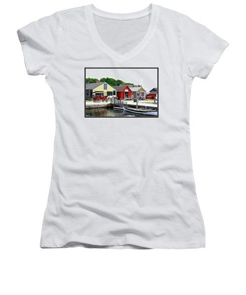 Historic Mystic Seaport Women's V-Neck T-Shirt (Junior Cut) by Dora Sofia Caputo Photographic Art and Design