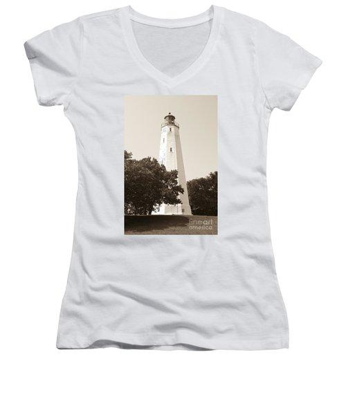 Historic Sandy Hook Lighthouse Women's V-Neck