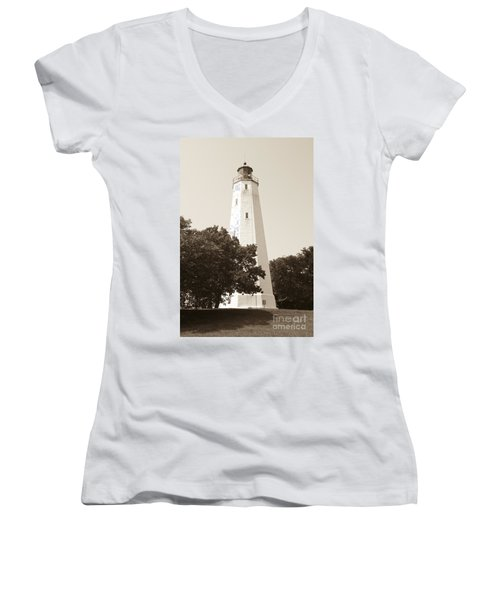Historic Sandy Hook Lighthouse Women's V-Neck (Athletic Fit)