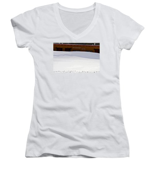 Hitchin' Post April Women's V-Neck T-Shirt (Junior Cut) by Jeremy Rhoades