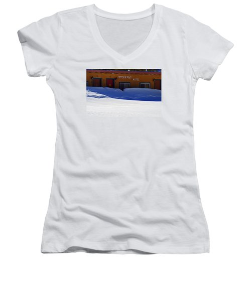 Hitchin' Post March Women's V-Neck T-Shirt (Junior Cut) by Jeremy Rhoades