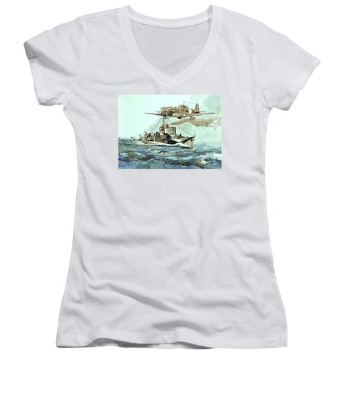 Hms Ledbury Women's V-Neck T-Shirt (Junior Cut) by Ray Agius