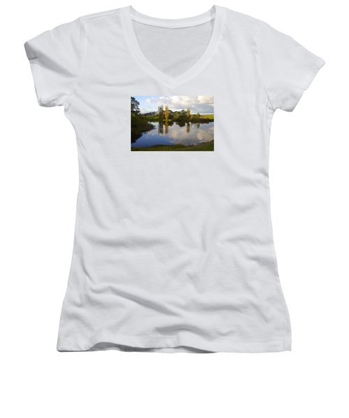 Autumn At Hobbiton Lake New Zealand Women's V-Neck T-Shirt (Junior Cut) by Venetia Featherstone-Witty