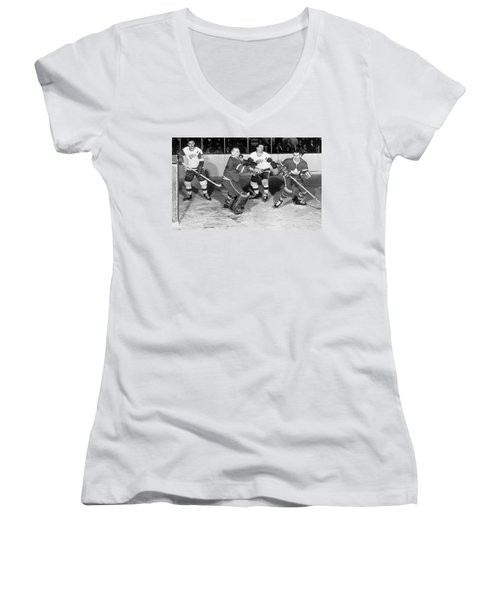 Hockey Goalie Chin Stops Puck Women's V-Neck (Athletic Fit)