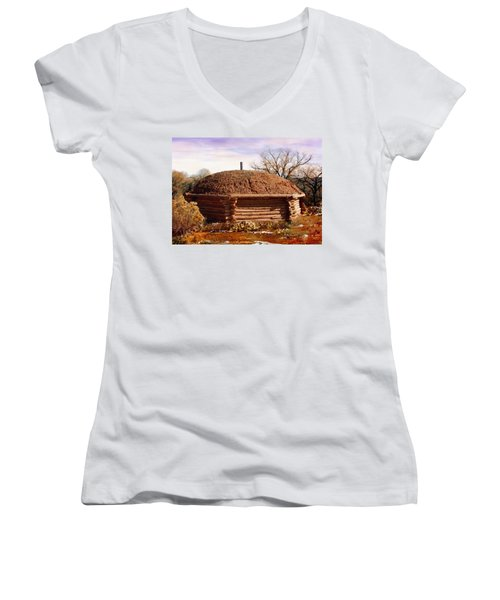 Hogan Monument Valley Winter Painting Women's V-Neck (Athletic Fit)