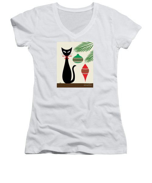 Holiday Cat On Cream Women's V-Neck (Athletic Fit)
