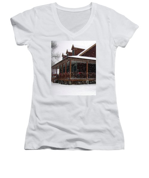 Holiday Porch Women's V-Neck T-Shirt (Junior Cut) by Claudia Goodell
