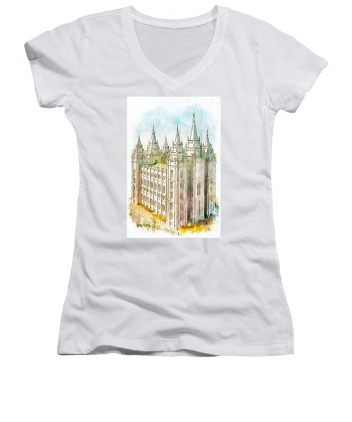 Women's V-Neck T-Shirt (Junior Cut) featuring the painting Holiness To The Lord by Greg Collins