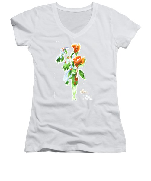 Women's V-Neck T-Shirt (Junior Cut) featuring the painting Holly With Red Roses In A Vase by Kip DeVore