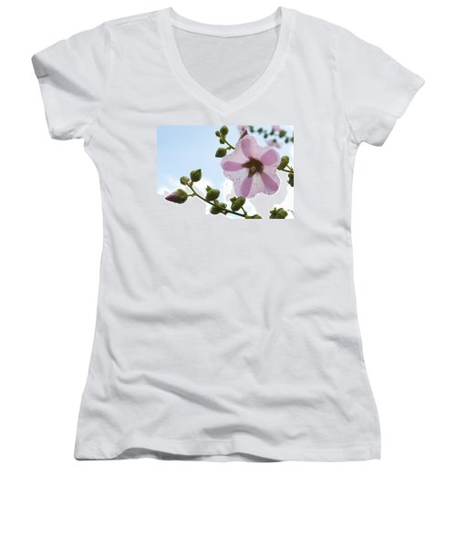 Women's V-Neck T-Shirt (Junior Cut) featuring the photograph Hollyhock With Raindrops by Lana Enderle