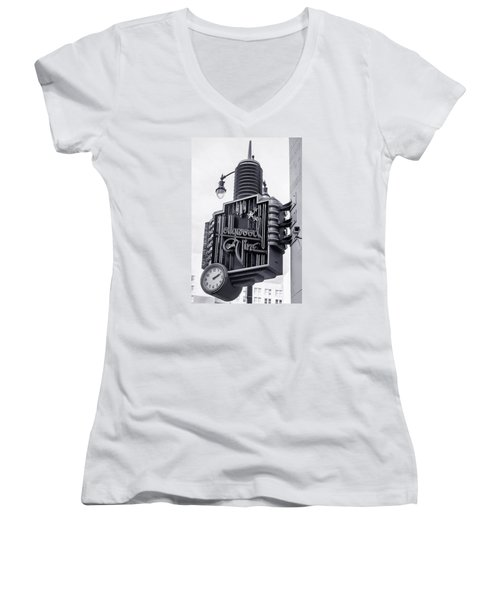 Hollywood Landmarks - Hollywood And Vine Sign Women's V-Neck T-Shirt (Junior Cut) by Art Block Collections