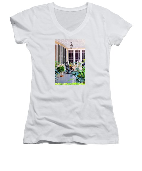 Veranda - Charleston, S C By Travel Photographer David Perry Lawrence Women's V-Neck T-Shirt (Junior Cut) by David Perry Lawrence