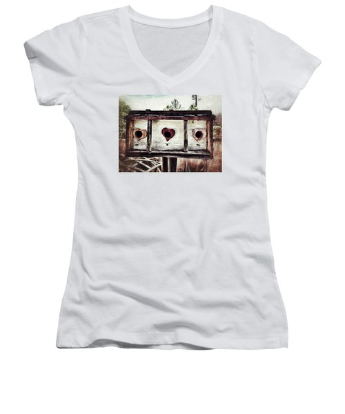 Home Sweet Home Women's V-Neck T-Shirt (Junior Cut) by Mark David Gerson