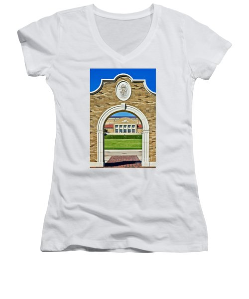 Women's V-Neck featuring the photograph Homecoming Bonfire Arch by Mae Wertz