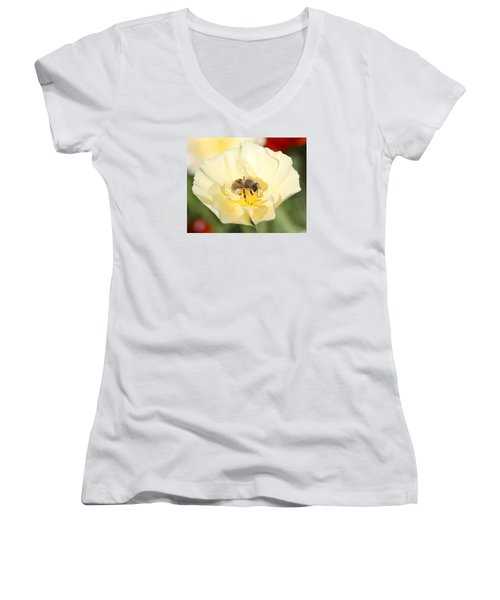 Honeybee On Cream Poppy Women's V-Neck T-Shirt (Junior Cut) by Lucinda VanVleck