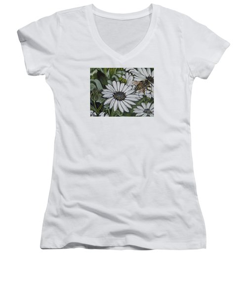 Honeybee Taking The Time To Stop And Enjoy The Daisies Women's V-Neck T-Shirt (Junior Cut) by Kimberlee Baxter