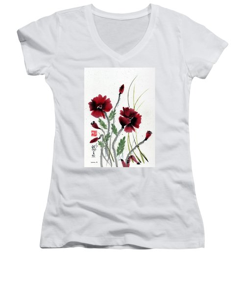 Women's V-Neck T-Shirt (Junior Cut) featuring the painting Honor by Bill Searle