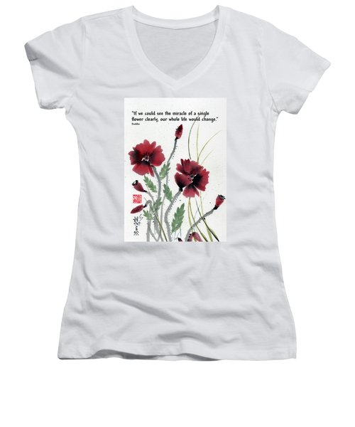 Women's V-Neck T-Shirt (Junior Cut) featuring the painting Honor With Buddha Quote I by Bill Searle