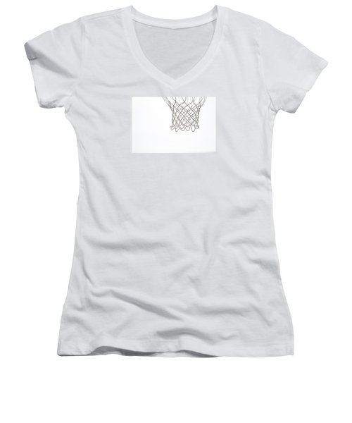 Hoops Women's V-Neck T-Shirt (Junior Cut) by Karol Livote