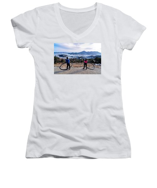 Hoops On The Mountaintop Women's V-Neck T-Shirt