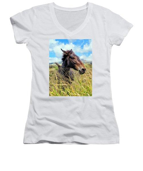 Women's V-Neck T-Shirt (Junior Cut) featuring the photograph Horse 6 by Dawn Eshelman