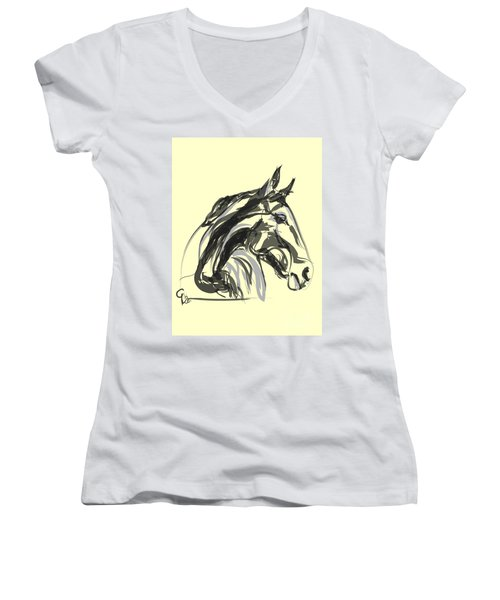 Women's V-Neck T-Shirt (Junior Cut) featuring the painting horse - Apple digital by Go Van Kampen
