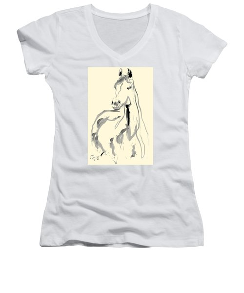 Women's V-Neck T-Shirt (Junior Cut) featuring the painting Horse - Arab by Go Van Kampen
