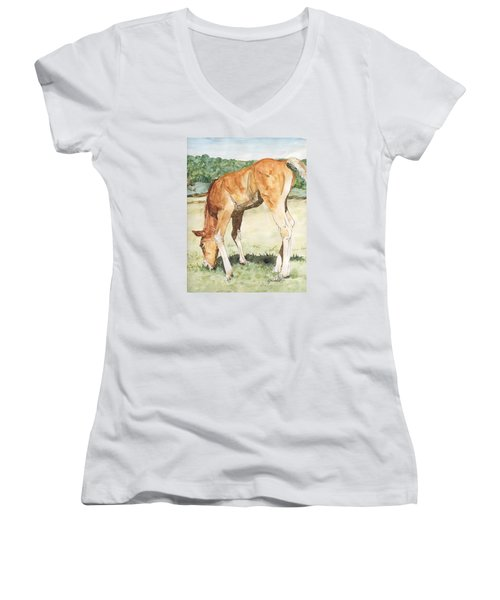 Horse Art Long-legged Colt Painting Equine Watercolor Ink Foal Rural Field Artist K. Joann Russell  Women's V-Neck T-Shirt