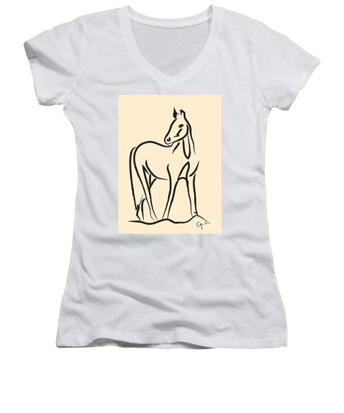 Women's V-Neck T-Shirt (Junior Cut) featuring the painting Horse - Grace by Go Van Kampen