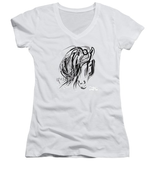 Horse- Hair And Horse Women's V-Neck T-Shirt (Junior Cut) by Go Van Kampen