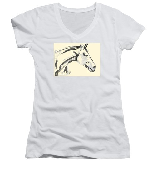 Women's V-Neck T-Shirt (Junior Cut) featuring the painting Horse - Lovely by Go Van Kampen