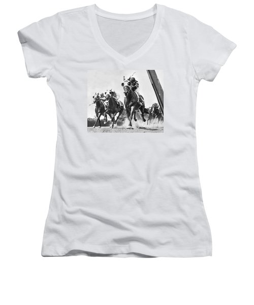 Horse Racing At Belmont Park Women's V-Neck (Athletic Fit)