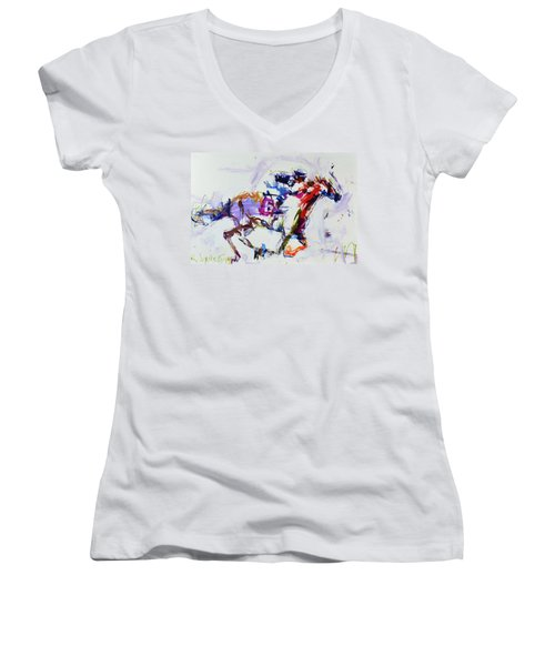 Horse Racing Print Women's V-Neck T-Shirt (Junior Cut) by Robert Joyner