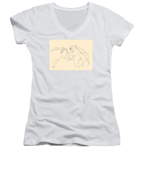 Horse - Together 3 Women's V-Neck T-Shirt (Junior Cut) by Go Van Kampen