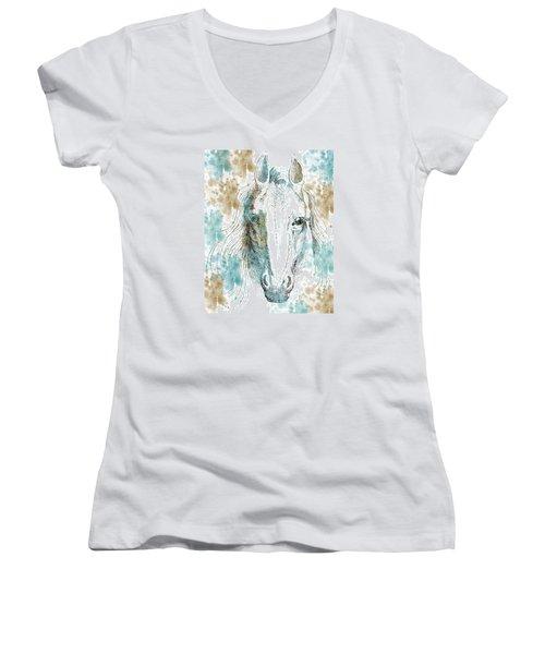 Horse Women's V-Neck T-Shirt (Junior Cut) by P S