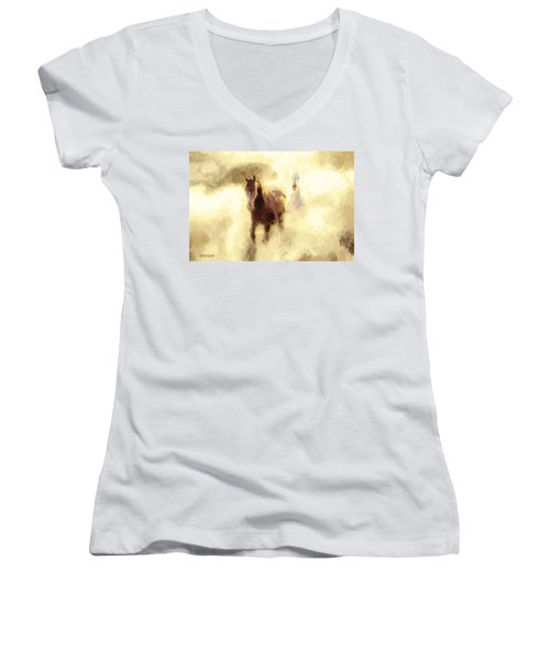 Horses Of The Mist Women's V-Neck