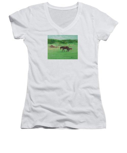 Horses Rural Pasture Western Landscape Original Oil Colorful Art Oregon Artist K. Joann Russell Women's V-Neck T-Shirt (Junior Cut) by Elizabeth Sawyer