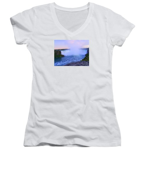 Horseshoe Falls Sunset In The Summer Women's V-Neck (Athletic Fit)