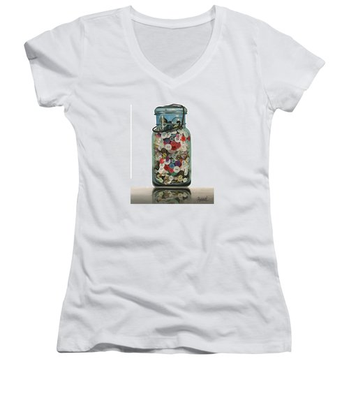 Women's V-Neck T-Shirt (Junior Cut) featuring the painting Hot Buttons by Ferrel Cordle