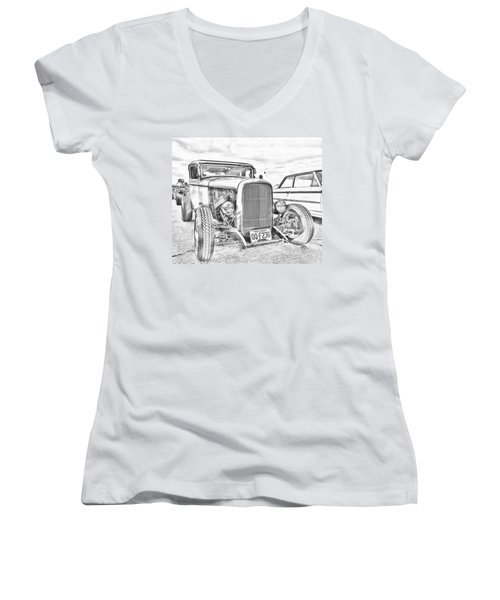 Hot Rod Faux Sketch Women's V-Neck (Athletic Fit)